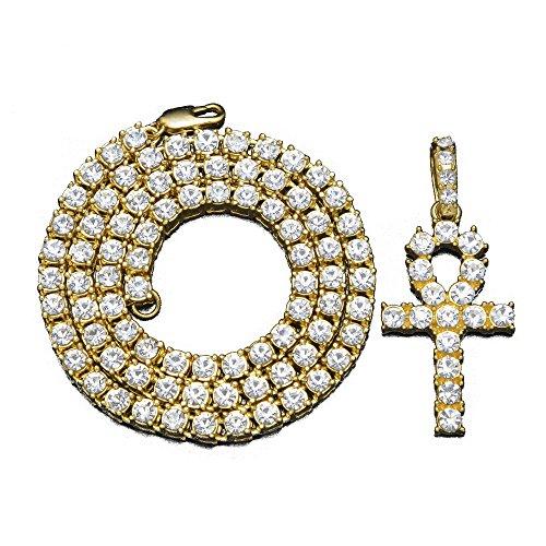 Zircon Cross - MCSAYS Fashion CZ Crystal Ankh Cross Pendant Tennis Chain Hip Hop Mens Gold Plated Titanium Steel (Gold)