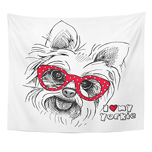 Emvency Tapestry Red Yorkie Portrait of Dog Yorkshire Terrier Glasses Animal Home Decor Wall Hanging for Living Room Bedroom Dorm 50x60 inches