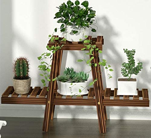 Succulents and Flowers Multi-Tier Shelving Unit Display for Indoor Outdoor Balcony Patio Small Plant Stand 2 Tier Wood Flower Rack /& Shelf Planter Unit up to 4 Plant Pots Office Garden