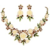 EVER FAITH Crystal Simulated Pearl Spring Rose Flower Leaf Necklace Pierced Earrings Set Brown Gold-Tone