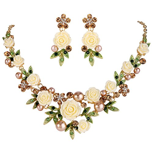 - EVER FAITH Crystal Simulated Pearl Spring Rose Flower Leaf Necklace Pierced Earrings Set Brown Gold-Tone
