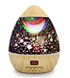 Star Projector, DSAATN Star Light Projector Wooden Grain Timer Auto Shut Color Changing USB Batteries Power, Night Light for Children Bedroom Baby Gift Toy Birthday Party