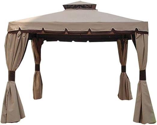 BAKAJI cenador de jardín 3 x 3 MT Estructura de Aluminio con Cubierta Toalla 400 gr/m² con spalmatura Anti-UV. Lluvia, Completo de 4 mosquiteras y 4 Toallas Laterales: Amazon.es: Jardín