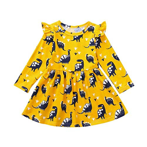 Discount Toddler Kid Baby Girl Long Sleeve Dinosaur Printing Party Dress Outfits - Pig Papa Dvd