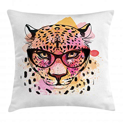 Ambesonne Animal Throw Pillow Cushion Cover, Watercolor Style Portrait of Leopard with Glasses Splashing Paint Art Style, Decorative Square Accent Pillow Case, 18 X 18 Inches, Orange Brown Pink