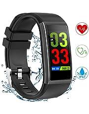 YONMIG Fitness Armband, Fitness Tracker mit Pulsmesser Blutdruckmessung, 1.14 Zoll Farbbildschirm IP67 Wasserdicht Smartwatch Schrittzähler Uhr Smart Watch für Android iOS Damen Herren Kinder