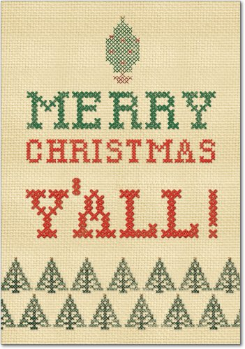 - 12 'Y'all' Boxed Christmas Hilarious Greeting Cards 4.63 x 6.75 inch, Merry Xmas Note Cards for Holidays, Gifts, Cute Stitched Christmas, Notecard Stationery w/ Envelopes B5949