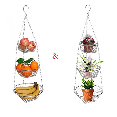 3-Tier Fruit Flower Storage Wire Hanging Basket Chrome Multi-Functional Hanging Organizer Christmas Home Decorations