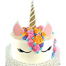 Handmade Unicorn Birthday Cake Topper Decoration - Made in USA with Double Sided Silver Pink Black White Glitter StockCake not included (Gold)