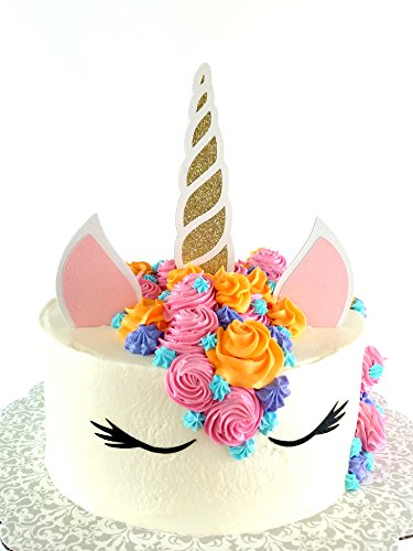 Handmade Unicorn Birthday Cake Topper Decoration - Made in USA with Double Sided Silver Pink Black White Glitter StockCake not included (Gold) - Custom Handcrafted Black Horn