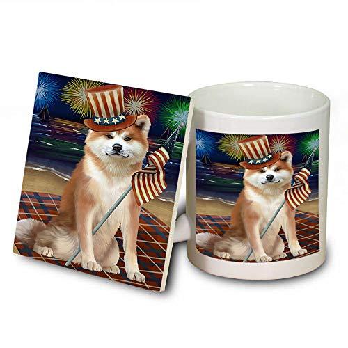 4th of July Independence Day Firework Akita Dog Mug and Coaster Set MUC52380 (Coasters Independence Safe Dishwasher)