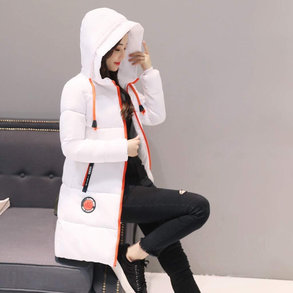 FIRMON-Coat Womens Warm Winter Parkas Coats Faux Fur Overcoat,Ladies Zipped Stripe Hooded Thick Windproof Jacket Outwear
