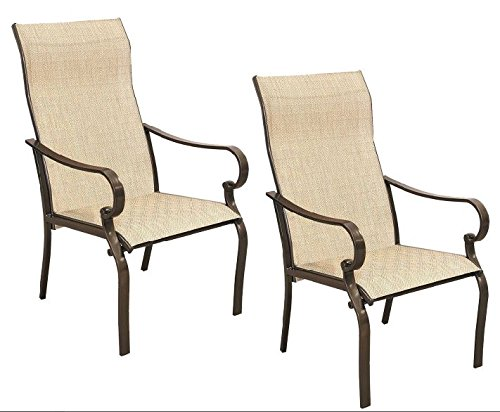 Never Rust Powder Coated Aluminum Frame Stackable Sling Dining ArmChairs with Weather-resistant Textilene Swing Fabric, Exceptionally Durable and Amazingly Comfortable. Set of 2