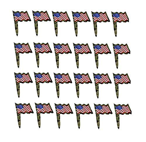 Patriotic Food Party Picks – 24 Pack Food Picks with Military Camouflage Pattern with American Flag décor for Birthday Parties, Memorial Day, Veterans Day & US Military Party Supplies by Havercamp ()