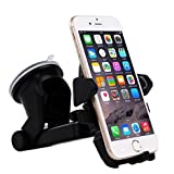 Car Accessories, Gaoye Car Mount Phone Holder Windshied Stand Universal 360 Degree Adjustable Cradle Strong Cup Holder for iPhone 7 6 Samsung Galaxy HTC Moto Sony LG Smartphones Gps Holder (Black)