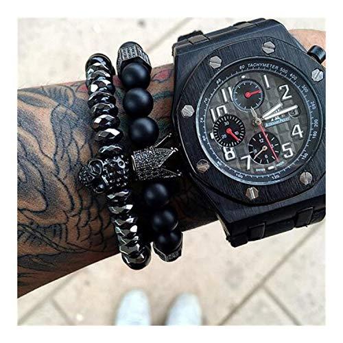 MEleonfQQA Bracelets Charms 8Mm Natural Stone Bracelets Men Micro Inlay Zircon Black Gun Crown&Matt Onyx Charm Bracelet Women Gifts 2pcs