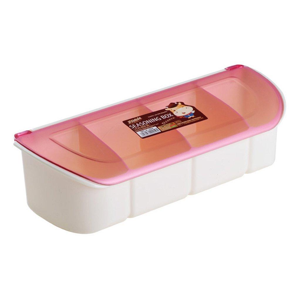 UGUAX - Estantería de 4 Piezas para Cocina, contenedor de Almacenamiento de Especias, contenedor de condimentos, tarros de condimento, Caja de condimentos con Cubierta y Cuchara, Rosa, Four Grids
