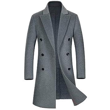 SHANLY Abrigo Fino De Lana De Los Hombres Abrigo Grande Abrigo De Lana De Doble Cara