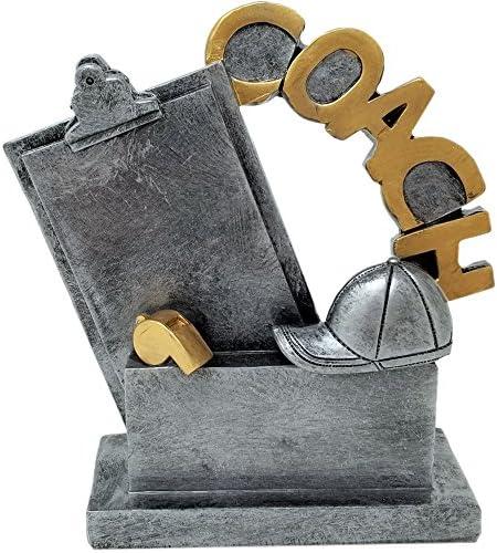 コーチTrophy–5.25インチ–シルバーベース–カスタマイズ& Engraved Plate Included–Decade Awards