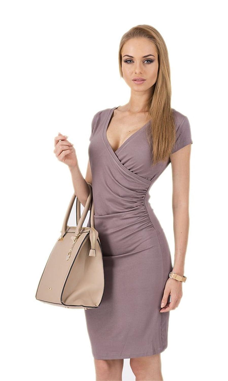 LifeWheel Sexy tiefen V-Ausschnitt Bleistift Rock Mode Kurzarm Kleid