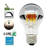 Luxon 6w A60 Led Bulb with Mirror ,E26 Medium Base, Half Chrome Siliver A Shape Bulb, Energy Saving Warm White 2700k,Dimmable