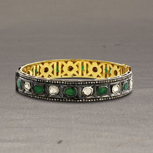 Christmas Sale Sterling Silver Pave Diamond Rose Cut Diamond Gold Bangle, Emerald Gemstone Rose Cut Diamond Bangle by Jaipur Handmade Jewelry