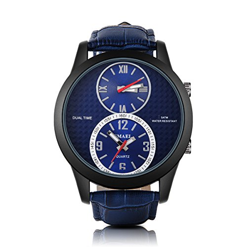 PALADA-Mens-Analog-Sport-Wrist-Watch-Dual-Quartz-Movement-Blue-Band-with-Blue-Dial-Watches-for-Men