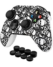 TNP Controller Cover Skin Case with Thumb Grips (Skull) Fit for Xbox Series X S & X-Box One XS Gamepad - Soft Studded Anti-Slip Silicone Rubber Gel Stick Cap Control Accessories Video Game Gaming