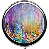 Qien BaiSei Abstract Floral Watercolor Painting Pill Box/Pill case-Round Pill Box/case- Three-Compartment Pill Box/Pill…