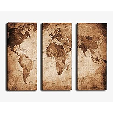 YPY Oil Painting World Map for Home Living Room Bedroom Office Paintings Ready to Hang 3 Piece Canvas Wall Art
