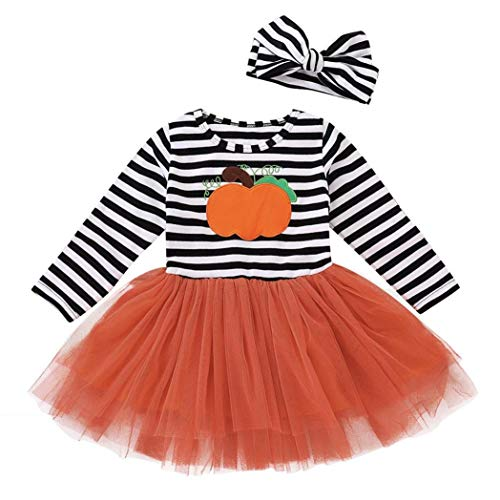 Sameno Kids Baby Girls Halloween Pumpkin Striped Print Long Sleeve Dress+Headbands Set 2Pcs (Multicolor, 18-24 Months) -