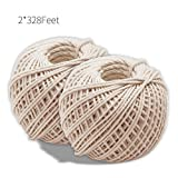 Office Products : Natural Cotton Cooking Twine 2 Pcsx328 Feet Food Safe Kitchen Twine String for Trussing and Tying Poultry and Meat Making Sausage,Good for Arts Crafts and Garden