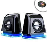 USB Powered 2.0 Computer Speakers with Blue LED Glow Lights and Bass Subwoofer by GOgroove - 3.5mm AUX Port , Headphone Jack , Volume Control for Laptop , PC , Desktop Computers
