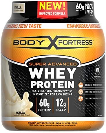 Body Fortress Super Advanced Whey Protein Powder, Gluten Free, Vanilla, 2 lbs