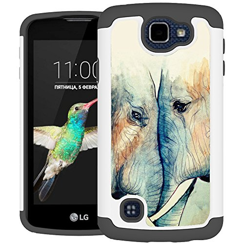 LG K4 Case, LG Optimus Zone 3 Case, LG Spree Case, UrSpeedtekLive [Shock Absorption] Dual Layer Hybrid Defender Cover Case for LG Optimus Zone 3 / LG K4 / LG Spree / Rebel LTE - in Love Elephants (Lg Phone Case Optimus compare prices)