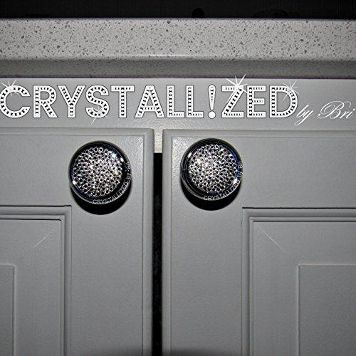Swarovski Pull Knob - Pair Swarovski CRYSTALLIZED Round Mushroom Cabinet Knobs Polished Chrome Brass Bling Crystals
