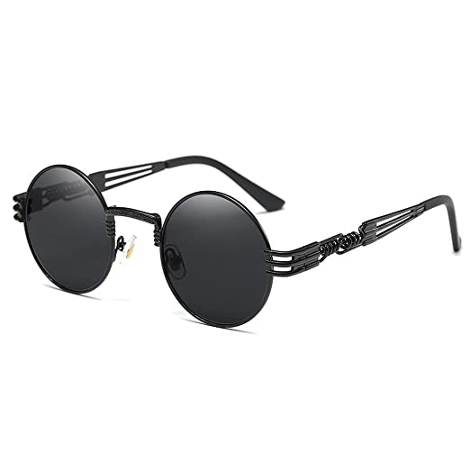 e2a847ac3854 Image Unavailable. Image not available for. Color  Round Retro Polarized  Sunglasses Driving Travel Glasses Women Men Steampunk