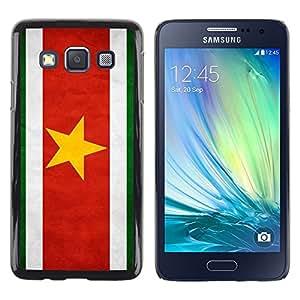 TopCaseStore / la caja del caucho duro de la cubierta de protección de la piel - Suriname Grunge Flag - Samsung Galaxy A3 SM-A300