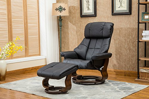 Madison Home Mid Century Modern Bonded Leather Lounge Swivel and Recliner Chair with Foot Stool Ottoman Black (Black Leather Chair And Footstool)