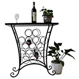Alightup Sleek Modern Circles Design Black Metal 16 Bottle Holder Free Standing Wine Organizer Rack Cellar Storage Tower