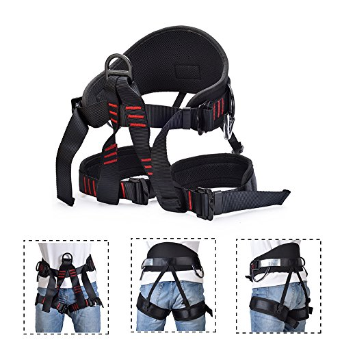 Thicken Climbing Harness, Weanas Protect Waist Safety Harness, Wider Half Body Harness for Mountaineering Fire Rescuing Rock Climbing Rappelling Tree Climbing (Upgraded Black)