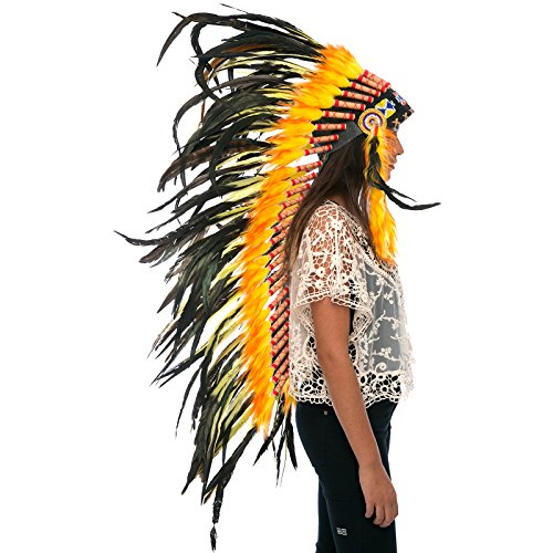 Long Feather Headdress- Native American Indian Inspired- Handmade by Artisan Halloween Costume for Men Women with Real Feathers - Yellow Fire (Aztec Tribe Costume)