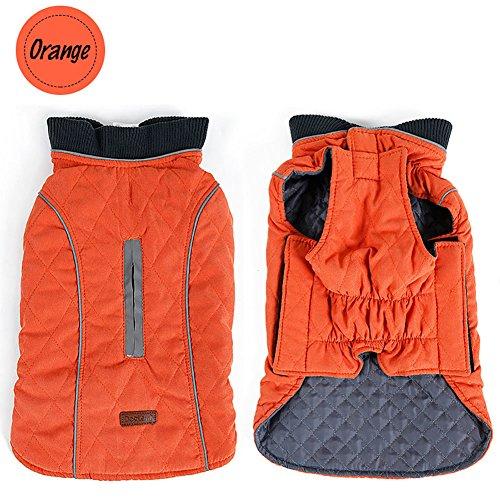 Sensfun Vintage Dog Anxiety Vest Comfortable Neck Thickened Dog Jacket For Winter Autumn Spring Orange XL