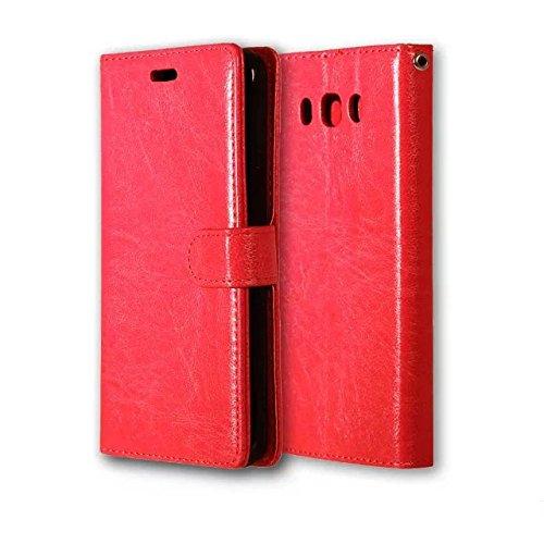 JIALUN-Personality teléfono shell Funda de cuero de la PU del color sólido de Samsung Galaxy J3 Pro con cubierta de la caja de Kickstand magnética de la cubierta de silicona para Samsung J3 Pro Seguri Red