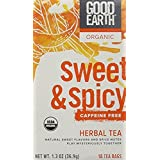 Good Earth Teas Organic Sweet and Spicy Caffeine Free Herbal 18 Tea Bags, 8 Count