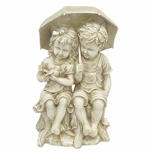 Girl Under Umbrella (Benzara Boy and Girl Under Umbrella Sculpture-Off White)