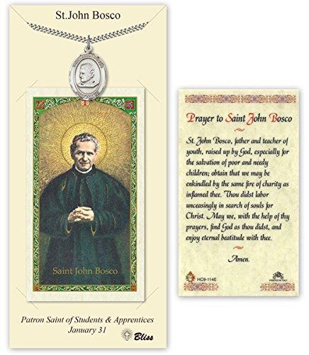 Pewter Saint John Bosco Medal with Laminated Holy Prayer Card