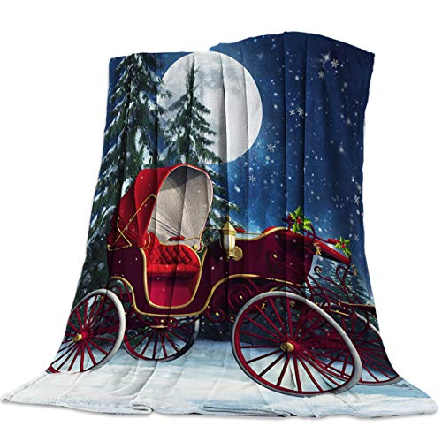 NewThangKa Decorative Throw Blanket for Living Roome/Office/Bedroom Luxury Warm Soft Cozy Flannel Microfiber Lightweight Blanket for All Season Sleigh Stoping at a Snowy Night 39