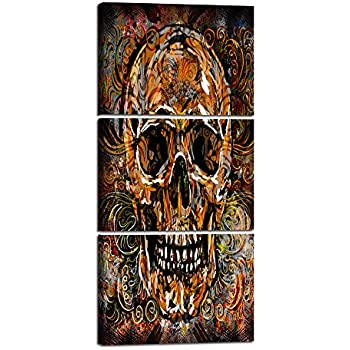Large Sugar Skull Feature Canvas Wall Art Painting 3 Panels Day of The Dead Contemporary Pictures Abstract Artwork Crossbones Framed Decor for Living Room Bedroom Halloween Ready to Hang (28''Wx60''H)