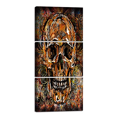 Large Sugar Skull Feature Canvas Wall Art Painting 3 Panels Day of The Dead Contemporary Pictures Abstract Artwork Crossbones Framed Decor for Living Room Bedroom Halloween Ready to Hang (28''Wx60''H) ()